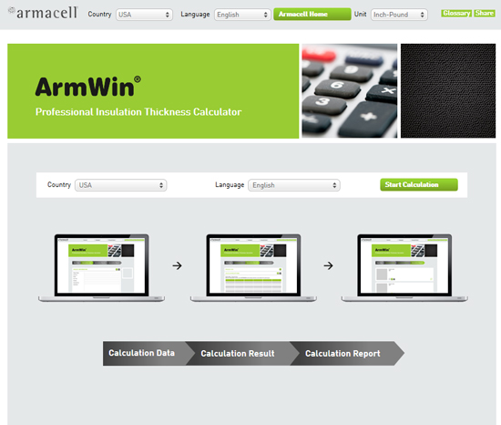 Armacell ArmWin Insulation Thickness Calculation Tool